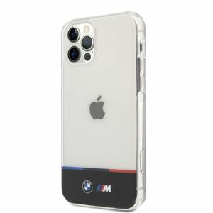 BMHCP12LMHTHK BMW M PC/TPU Horizontal Tricolor Zadní Kry pro iPhone 12 Pro Max 6.7 Transparent