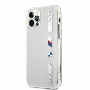 BMHCP12LMKTSS BMW M PC/TPU Silver Stripes Zadní Kryt pro iPhone 12 Pro Max 6.7 Transparent