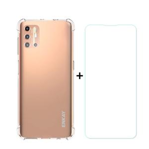 ENKAY Priehľadný obal + Tvrdené sklo Motorola Moto G9 Plus