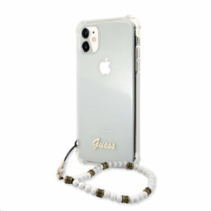 GUHCN61KPSWH Guess PC Script and White Pearls Zadní Kryt pro iPhone 11 Transparent