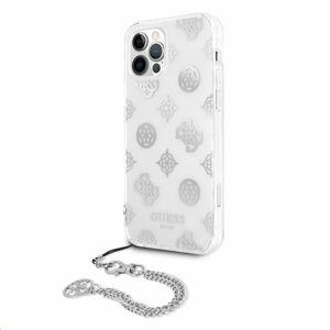 GUHCP12LKPSWH Guess PC Chain Peony Zadní Kryt pro iPhone 12 Pro Max Silver