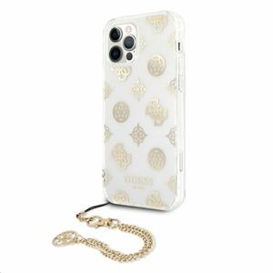 GUHCP12MKSPEGO Guess PC Chain Peony Zadní Kryt pro iPhone 12/12 Pro Gold