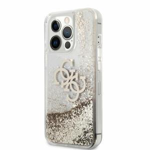 GUHCP13LLG4GGO Guess TPU Big 4G Liquid Glitter Gold Zadní Kryt pro iPhone 13 Pro Transparent