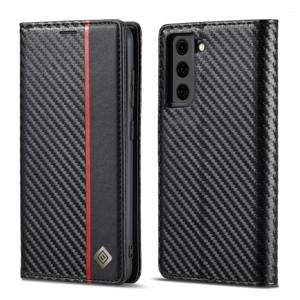 IMEEKE CARBON Peňaženkový kryt Samsung Galaxy S21 FE 5G čierny