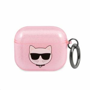 KLA3UCHGP Karl Lagerfeld TPU Glitter Choupette Head Pouzdro pro Airpods 3 Pink