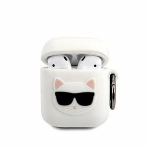 KLACA2SILCHWH Karl Lagerfeld Choupette Head Pouzdro pro Airpods 1/2 White