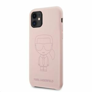 KLHCN61SILTTPI  Karl Lagerfeld Iconic Outline Silikonový Kryt pro iPhone 11 Tone on Tone Pink
