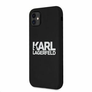 KLHCN61SLKLRBK Karl Lagerfeld Stack White Logo Silikonový Kryt pro iPhone 11 Black