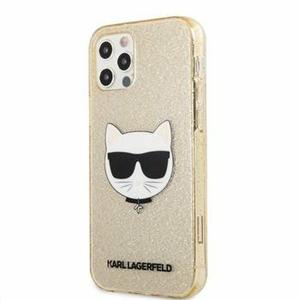 KLHCP12LCHTUGLGO Karl Lagerfeld Choupette Head Glitter Kryt pro iPhone 12 Pro Max 6.7 Gold