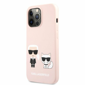 KLHCP13LSSKCI Karl Lagerfeld and Choupette Liquid Silicone Pouzdro pro iPhone 13 Pro Pink