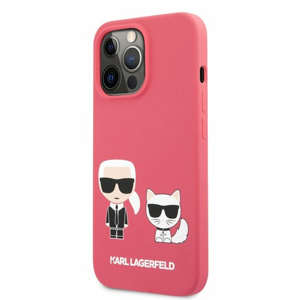 KLHCP13LSSKCP Karl Lagerfeld and Choupette Liquid Silicone Pouzdro pro iPhone 13 Pro Red