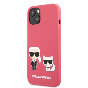 KLHCP13MSSKCP Karl Lagerfeld and Choupette Liquid Silicone Pouzdro pro iPhone 13 Red