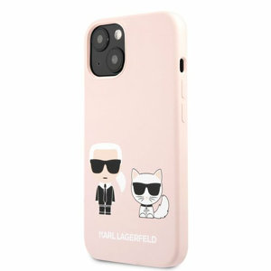 KLHCP13SSSKCI Karl Lagerfeld and Choupette Liquid Silicone Pouzdro pro iPhone 13 mini Pink