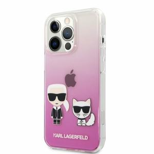 KLHCP13XCKTRP Karl Lagerfeld PC/TPU Ikonik Karl and Choupette Kryt pro iPhone 13 Pro Max Pink