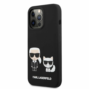 KLHCP13XSSKCK Karl Lagerfeld and Choupette Liquid Silicone Pouzdro pro iPhone 13 Pro Max Black