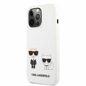KLHCP13XSSKCW Karl Lagerfeld and Choupette Liquid Silicone Pouzdro pro iPhone 13 Pro Max White