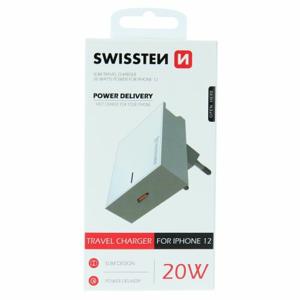 Nabíjací adaptér Swissten Power Delivery 20W pre iPhone 12 USB-C Biely