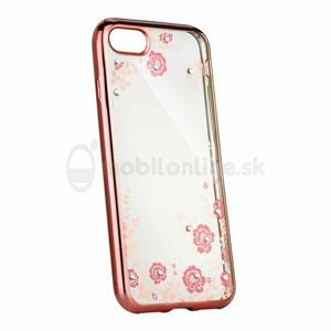 Puzdro Diamond TPU Samsung Galaxy A8 2018 A530 kvety - ružovo-zlaté