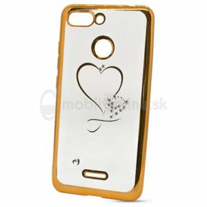 Puzdro Diamond TPU Xiaomi Redmi 6 srdce - zlaté