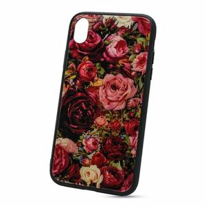 Puzdro Glass Hard TPU iPhone XR - ruže
