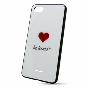 Puzdro Glass Hard TPU Xiaomi Redmi 6A Srdce - biele