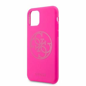 Puzdro Guess pre iPhone 11 Pro GUHCN58LS4GFU silikónové, tmavoružové