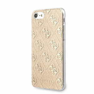 Puzdro Guess pre iPhone 8/SE2020 GUHCI8PCU4GLGO silikónové strblietkami, zlaté