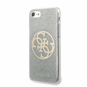 Puzdro Guess pre iPhone 8/SE2020 GUHCI8PCUGLLG silikónové strblietkami, strieborné