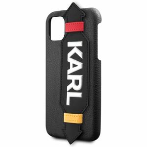 Puzdro Karl Lagerfeld pre iPhone 11 Pro KLHCN58HDAWBK imitácia kože, čierne