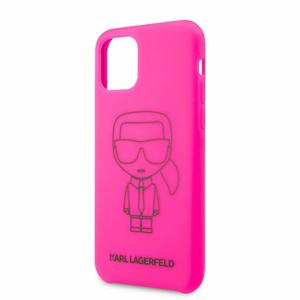 Puzdro Karl Lagerfeld pre iPhone 11 Pro KLHCN58SILFLPI silikónové, ružové