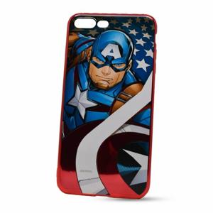 Puzdro Marvel TPU iPhone 7 Plus/8 Plus Captain America vzor 004 (licencia) - červené chrome