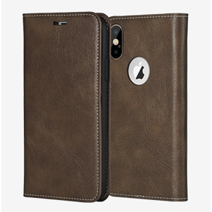 X-FITTED FOLIO obal Apple iPhone XS hnedý